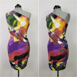 ASOS Bodycon One Shoulder Watercolor Print Dress